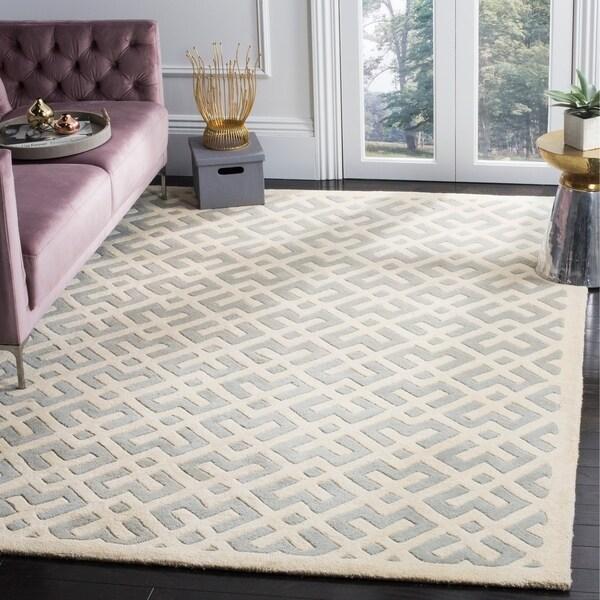 Safavieh Handmade Moroccan Chatham Grey/ Ivory Wool Rug - 5' x 8'