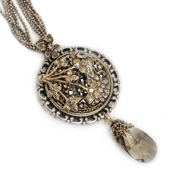 Sweet Romance Peacock Crystal Rocks Necklace
