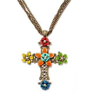 Sweet Romance Enamel Flower Cross Necklace