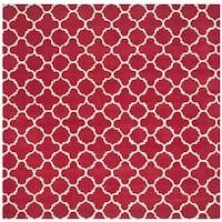 "Safavieh Handmade Moroccan Chatham Red/ Ivory Wool Rug - 8'9"" x 8'9"" square"