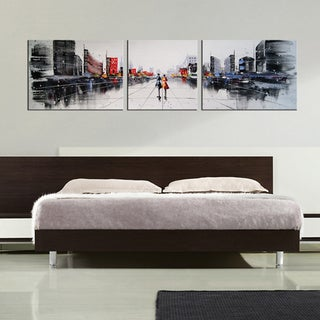 'Dream City' 3-piece Gallery-wrapped Hand Painted Canvas Art Set - Multi