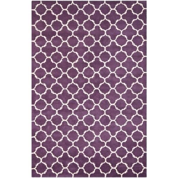 Fadfay Super Soft Modern Shaggy Area Rugs Turquoise Rug: Safavieh Handmade Moroccan Chatham Purple/ Ivory Wool Rug