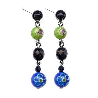 Sweet Romance Candy Glass Millefiori Drop Earrings