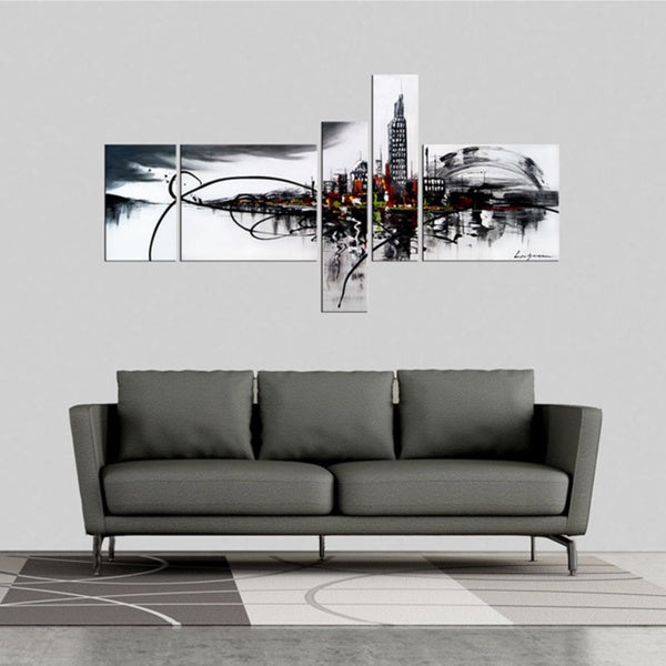 39 city on the river 39 5 piece gallery wrapped hand painted canvas art set free shipping today. Black Bedroom Furniture Sets. Home Design Ideas