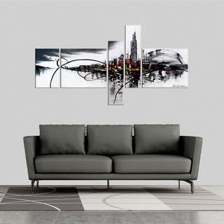 'City On The River' 5-piece Gallery-wrapped Hand Painted Canvas Art Set|https://ak1.ostkcdn.com/images/products/8047574/P15406024.jpg?impolicy=medium