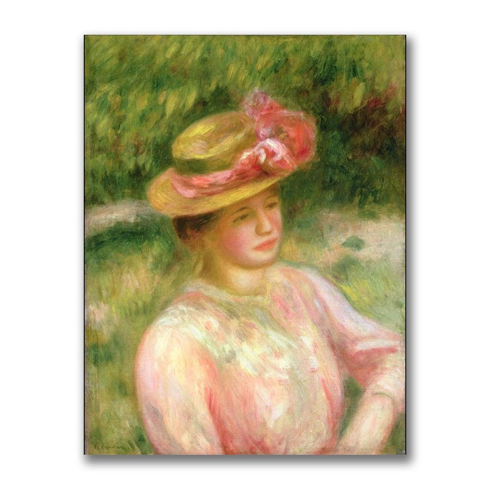 Pierre Renoir 'The Straw (Brown) Hat' Canvas Art (32x26 '...