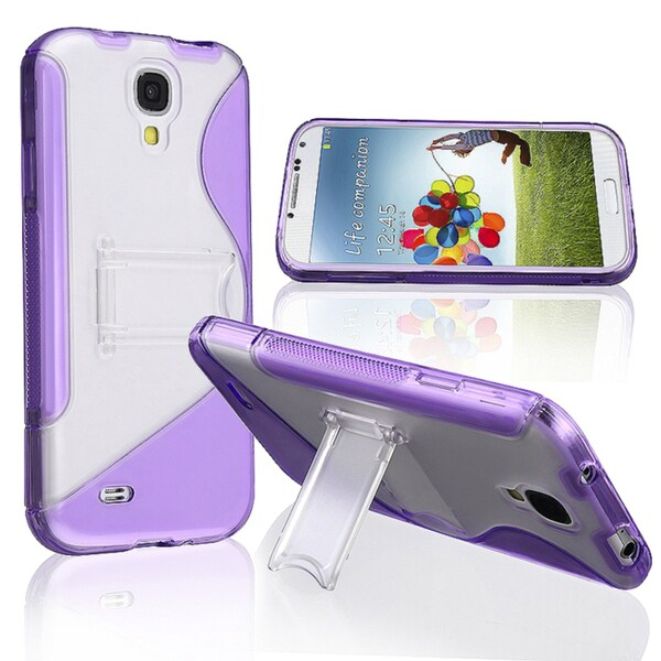 Basacc Purple/ Clear S Shape TPU Rubber Case For Samsung© Galaxy S4