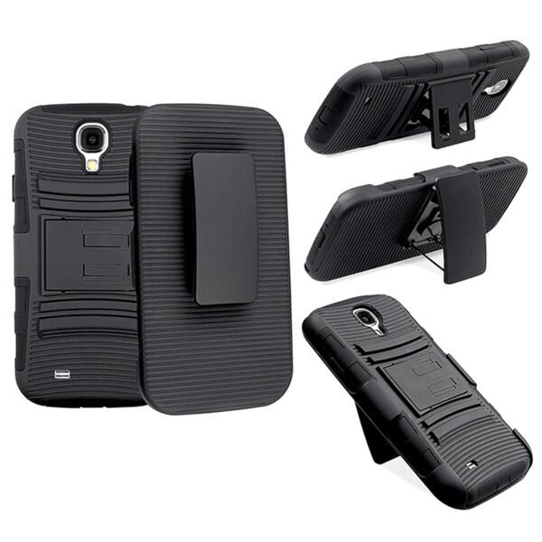 INSTEN Black Skin/ Black Hard Plastic Hybrid Holster for Samsung Galaxy S4
