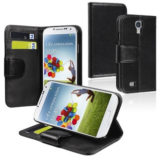INSTEN Black Leather Phone Case Cover with Card Wallet for Samsung Galaxy S4