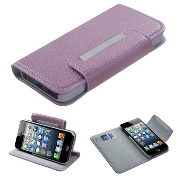 BasAcc Purple Book-Style Premium MyJacket Wallet For Apple® iPhone 5