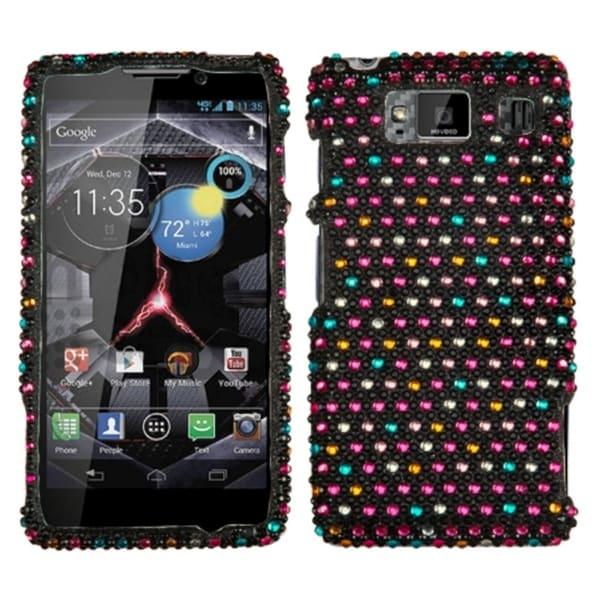 INSTEN Sprinkle Dots Diamante Phone Case Cover for Motorola XT926W Droid Razr HD