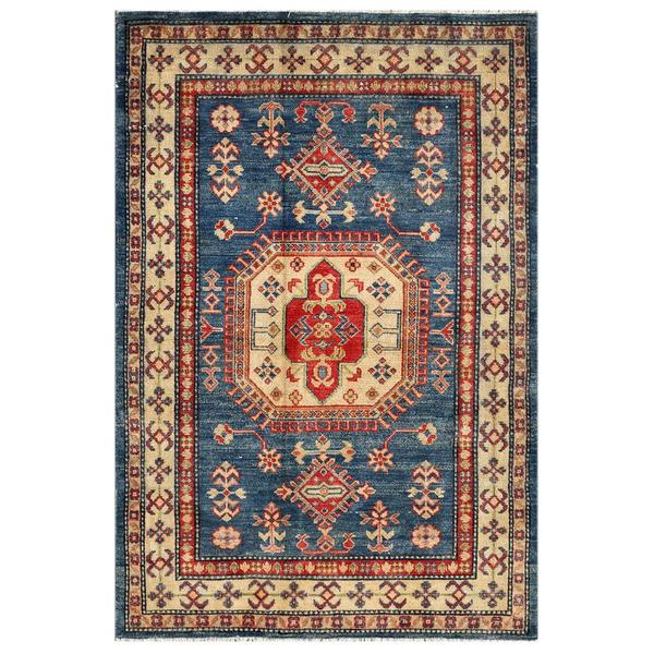 Afghan Hand-knotted Kazak Navy/ Ivory Wool Rug (4' x 5'11)