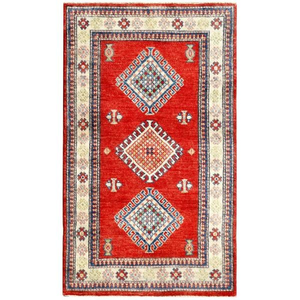 Afghan Hand-knotted Kazak Red/ Ivory Wool Red (3' x 4'10)