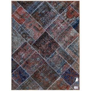 Herat Oriental Pak Persian Hand-knotted Patchwork Wool Rug (4'9 x 6'4)