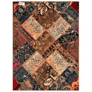 Herat Oriental Pak Persian Hand-knotted Patchwork Multi-colored Wool Rug (4'9 x 6'5)