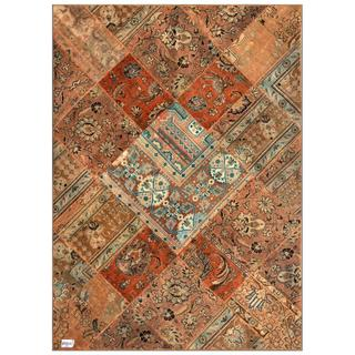 Herat Oriental Pak Persian Hand-knotted Patchwork Wool Rug (5'7 x 7'9)