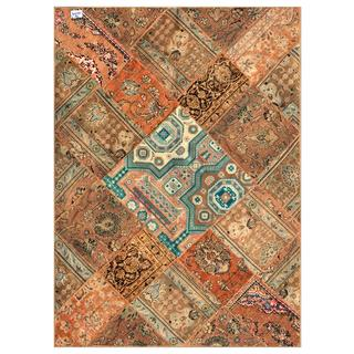 Herat Oriental Pak Persian Hand-knotted Patchwork Multi-colored Wool Rug (5'7 x 7'8)