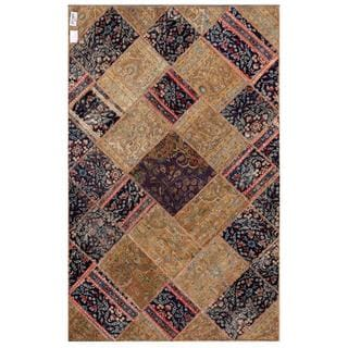 Herat Oriental Pak Persian Hand-knotted Patchwork Multi-colored Wool Rug (4'11 x 7'9)