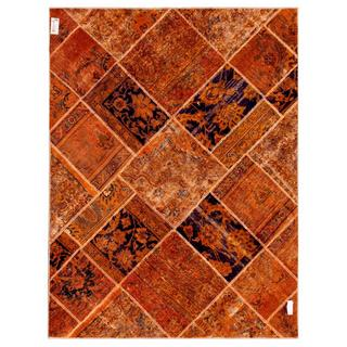Herat Oriental Pak Persian Hand-knotted Patchwork Multi-colored Wool Rug (4'10 x 6'4)
