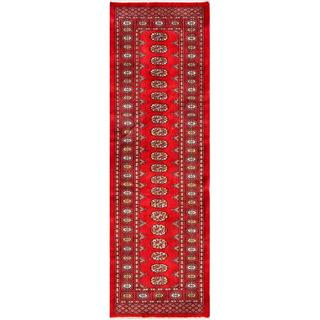 Herat Oriental Pakistani Hand-knotted Bokhara Red/ Ivory Wool Rug (2'5 x 8')