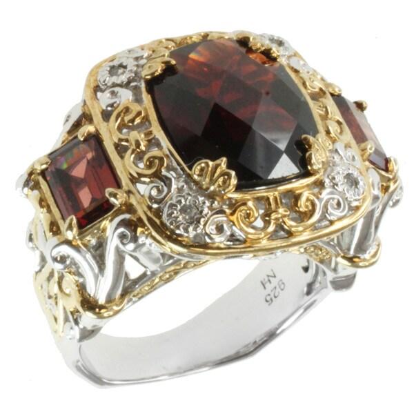 Michael Valitutti Two-tone Garnet and White Sapphire Ring