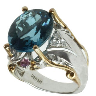 Michael Valitutti Two-tone Blue Topaz, Pink and White Sapphire Ring