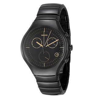 Rado Men's 'Rado True' Black-Dial Ceramic Swiss Quartz Watch