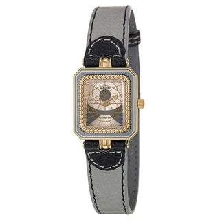 Rado Women's 'Florence' Yellow Gold PVD-Coated Steel Swiss Quartz Gray Leather Watch