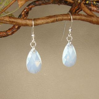 Jewelry by Dawn Sterling Silver Teardrop White Crystal Pear Earrings