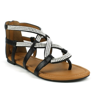Mark & Maddux Women's 'Paul-07' Black Rhinestone Strap Sandals