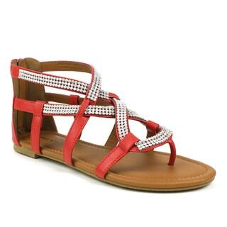 Mark & Maddux Women's 'Paul-07' Red Rhinestone Strap Sandals