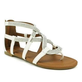 Mark & Maddux Women's 'Paul-07' White Rhinestone Strap Sandals