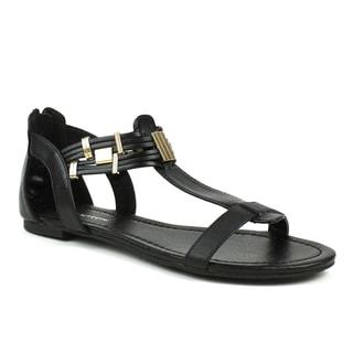 Mark & Maddux Women's 'Tyson-06' Metal Accent Black Sandals
