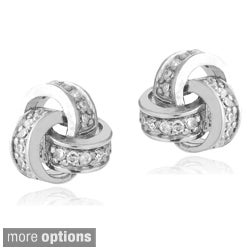 Icz Stonez Sterling Silver Cubic Zirconia Love Knot Earrings
