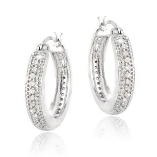 DB Designs Silvertone 1/2ct TDW Diamond Hoop Earrings