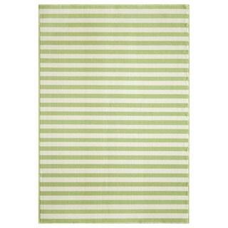 Indoor/Outdoor Green Striped Rug (2'3 x 4'6)