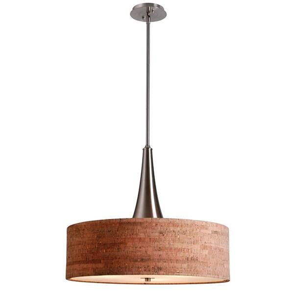 Bachman 22-inch Brushed Steel/ Cork Pendant
