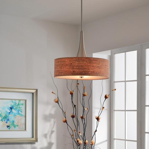 Design Craft Bachman 22-inch Brushed Nickel/ Cork Pendant