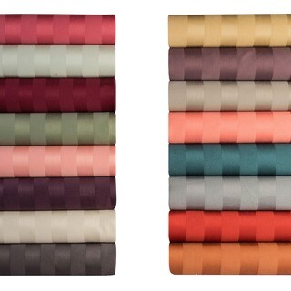 Cotton 500 Thread Count Damask Stripe 4-piece Sheet Set (More options available)