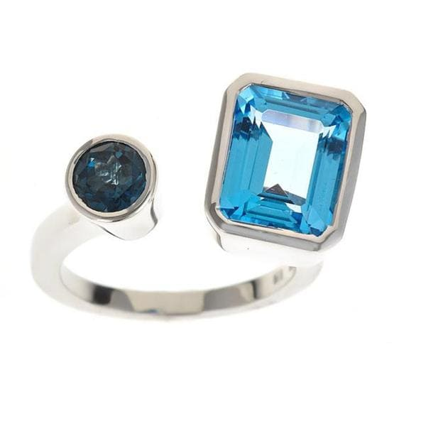 Anika and August Sterling Silver Swiss Blue Topaz and London Blue Topaz Ring