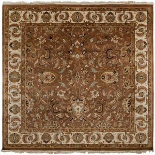 Hand-knotted Cadhla Brown Semi-Worsted New Zealand Wool Oriental Area Rug - 8' Square