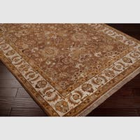 Hand-knotted Cadhla Brown Semi-Worsted New Zealand Wool Oriental Area Rug - 8' x 8'