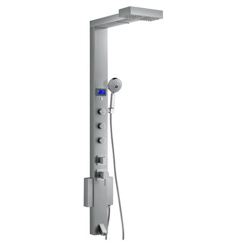 Blue Ocean 59-inch Stainless Steel Shower Panel Tower with Rainfall Showerhead - Silver