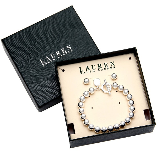Ralph Lauren Silver Toggle Bead Bracelet and Earring Set with Gift Box