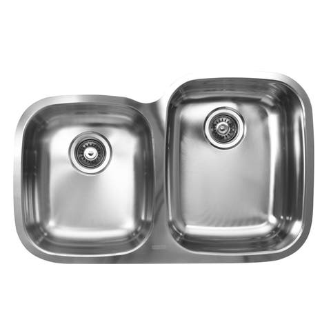 Ukinox Double Basin Stainless Steel Undermount Kitchen Sink - 60/40 Left bowl: Square ; Right bowl: D-shape