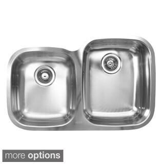 Ukinox D376.60.40.10R 60/40 Double Basin Stainless Steel Undermount Kitchen Sink