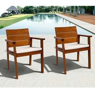 Amazonia Eucalyptus Wood Deluxe Arm Chairs (Set of 2)