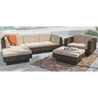 Havenside Home Tybee Beige Weave 6-piece Outdoor Sectional Set
