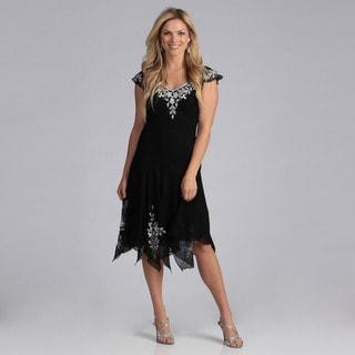 J Laxmi Women's White Bead Hanky Hem Cocktail Dress