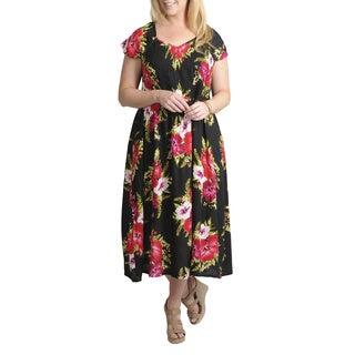 La Cera Women's Plus Smocked Bodice Sleeveless Sundress